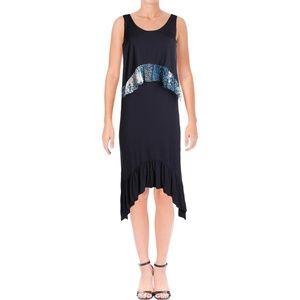 Diane Von Furstenberg Womens Perri Silk Trim Dress